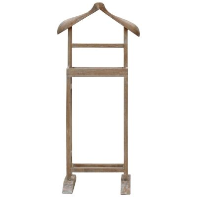 Arlet Hand Crafted Mango Wood Valet Stand, Weathered Oak