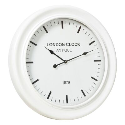 London Classic Wooden Round Wall Clock, 78cm, White