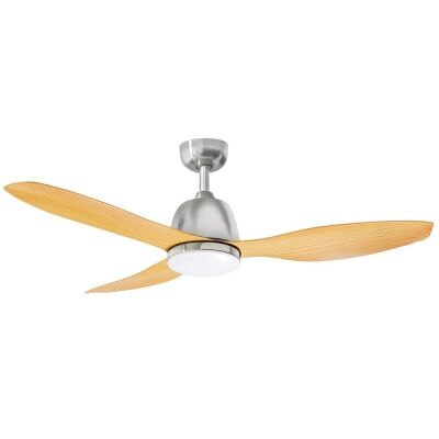 """Martec Elite Ceiling Fan with CCT LED Light, 120cm/48"""", Brushed Nickel / Bamboo"""