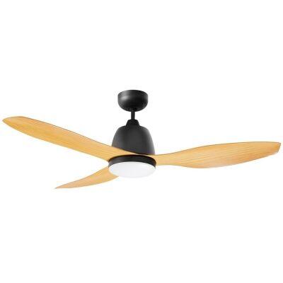 """Martec Elite Ceiling Fan with CCT LED Light, 120cm/48"""", Matt Black / Bamboo"""