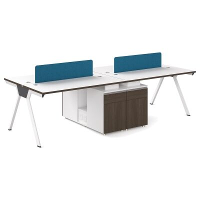Wills Workstation Desk, 2 Seats with Middle Cabinet, 240cm