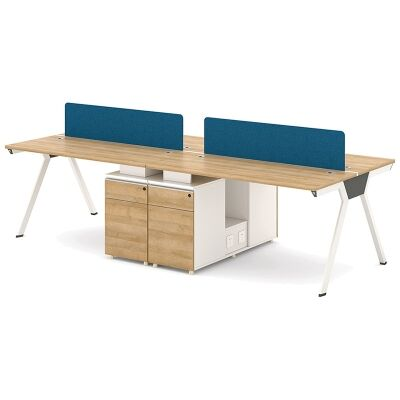 Darian Workstation Desk, 4 Seats with Middle Cabinets, 240cm