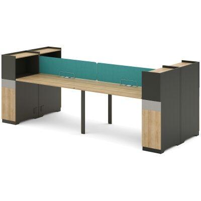 Lennon Workstation Desk, 4 Seats with Side Cabinets, 300cm