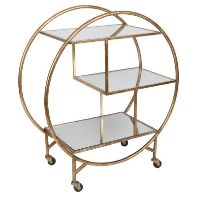 Plestine Iron Bar Trolley, Antique Gold