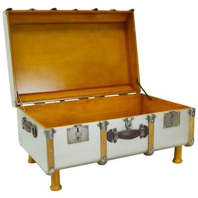 Stateroom Timber Trunk Table, Ivory / Silver
