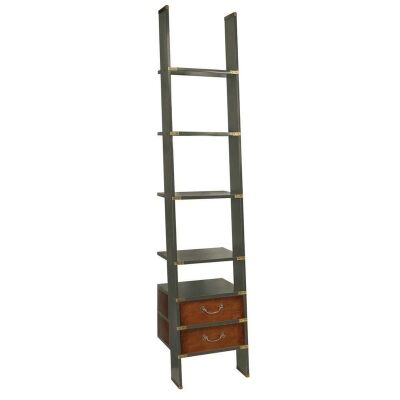 Library Solid Timber Ladder Shelf, Grey