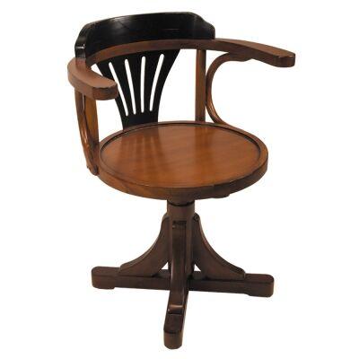 Pursers Timber Pedestal Chair, Honey / Black