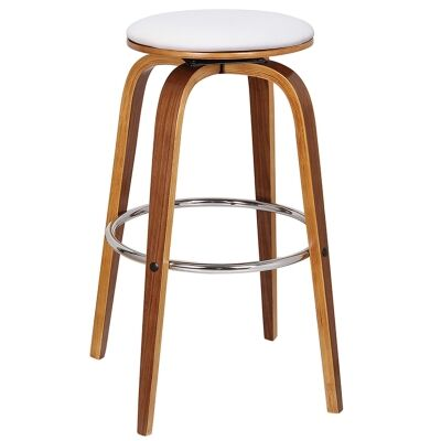Rho Commercial Grade Bentwood Swivel Bar Stool, Faux Leather Seat, White / Light Walnut