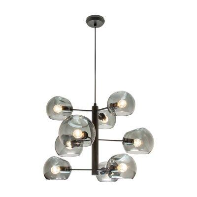 Milan Glass Pendant Light, 9 Light, Black