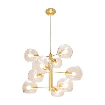 Milan Glass Pendant Light, 9 Light, Brass