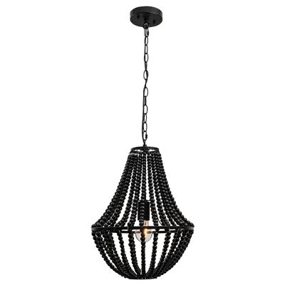 Willow Wooden Bead Pendant Light, Small, Black