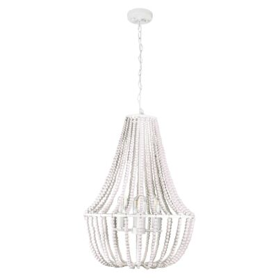 Willow Wooden Bead Pendant Light, Large, White