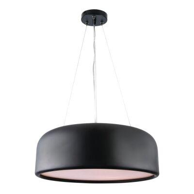Porto Metal Round Pendant Light, Large, Black