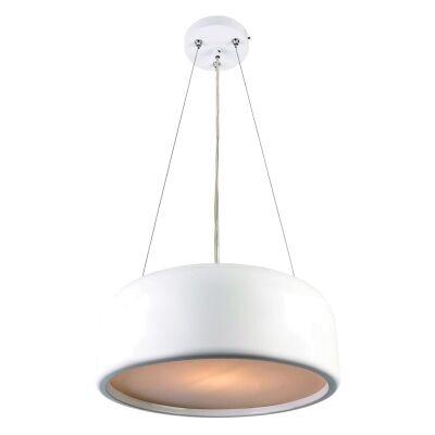 Porto Metal Round Pendant Light, Large, White