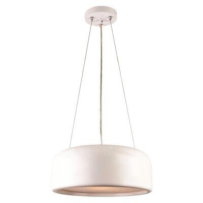Porto Metal Round Pendant Light, Small, White