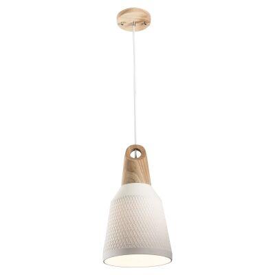 Morrissey Ceramic & Oak Timber Pendant Light, Slim