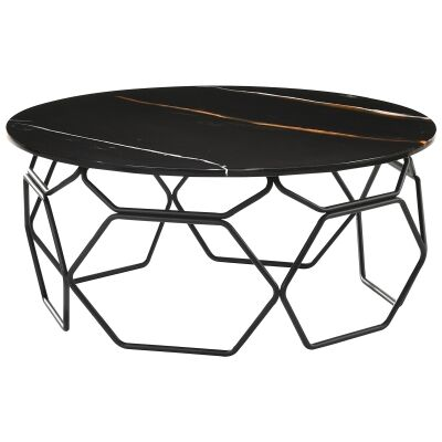Linza Engineered Marble Topped Metal Round Coffee Table, 90cm