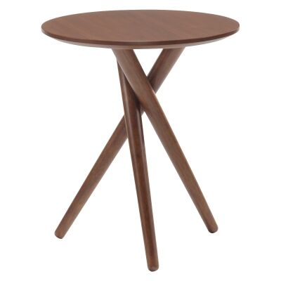 Bodie Wooden Round Side Table, Walnut
