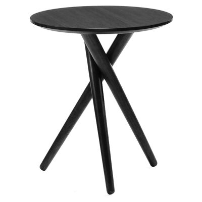 Bodie Wooden Round Side Table, Black