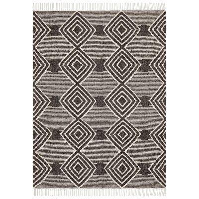 Rhythm Kirin Hand Loomed Wool Rug, 155x225cm, Charcoal
