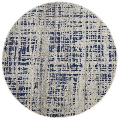 Mirage Ashley Abstract Modern Round Rug, 150cm, Navy