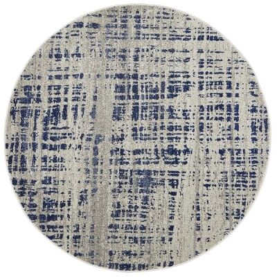 Mirage Ashley Abstract Modern Round Rug, 200cm, Navy