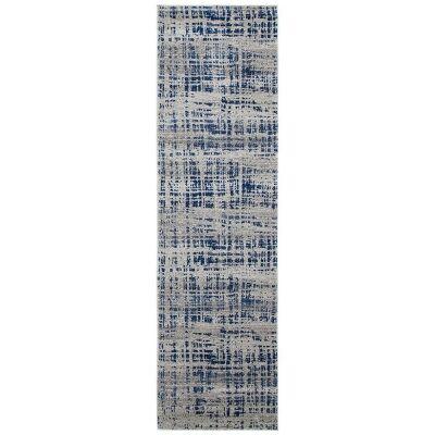 Mirage Ashley Abstract Modern Runner Rug, 80x500cm, Navy