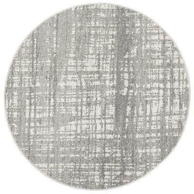 Mirage Ashley Abstract Modern Round Rug, 200cm, Silver