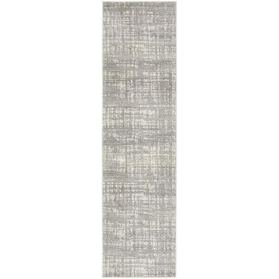 Mirage Ashley Abstract Modern Runner Rug, 80x500cm, Silver