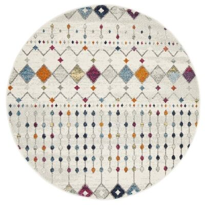 Mirage Peggy Tribal Morrocan Round Rug, 150cm