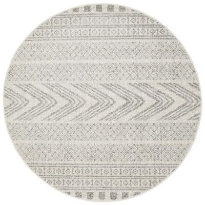 Mirage Adani Modern Tribal Round Rug, 200cm, Grey