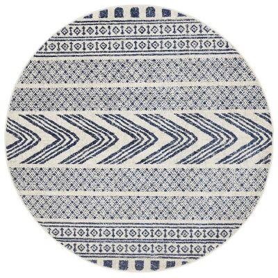 Mirage Adani Modern Tribal Round Rug, 200cm, Navy