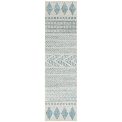Mirage Adani Modern Tribal Runner Rug, 80x300cm, Sky Blue