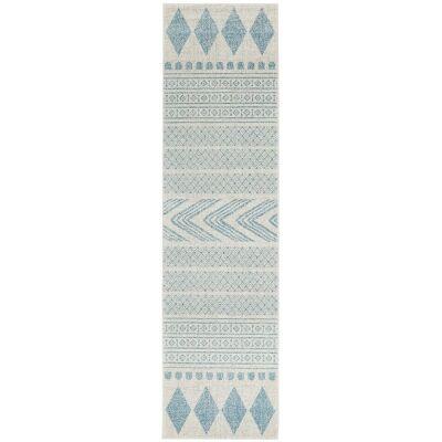 Mirage Adani Modern Tribal Runner Rug, 80x500cm, Sky Blue