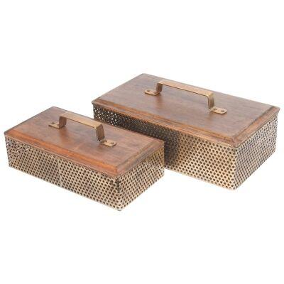 Luxe Timber & Iron 2 Piece Storage Box Set