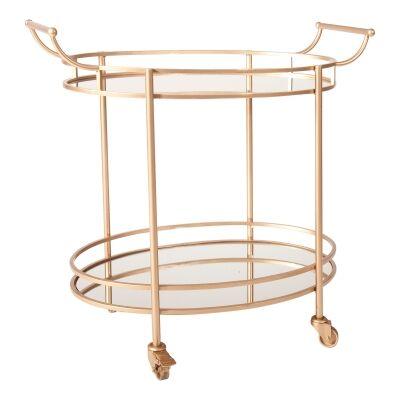 Luxe Metal & Mirror Oval Bar Cart