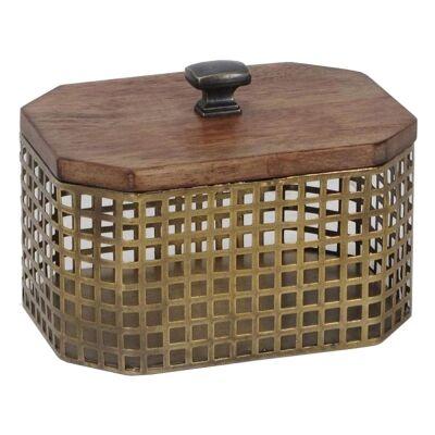 Luxe Timber & Iron Octagon Storage Box