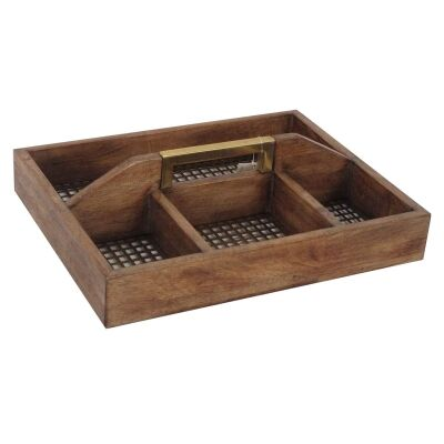 Luxe Timber & Iron Compartment Tray