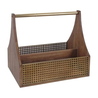 Luxe Timber & Iron Cutlery Caddy