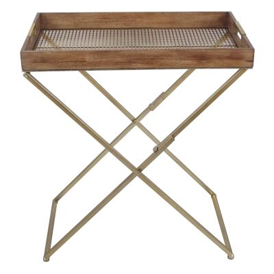 Luxe Timber & Iron Folding Tray Top Side Table