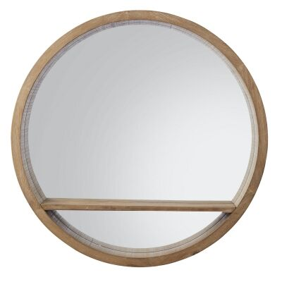 Chelsea Wooden Frame Round Wall Mirror, 80cm
