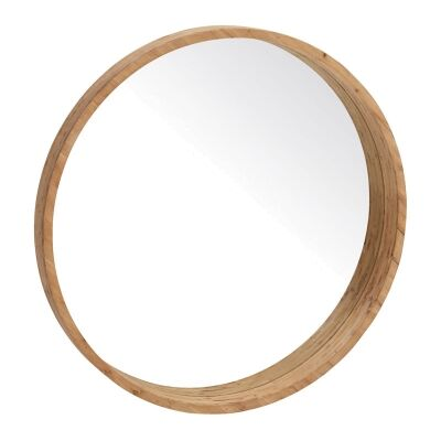 Colton Wooden Frame Round Wall Mirror, 120cm