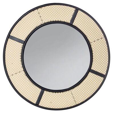 Lagoon Metal & Rattan Framed Round Wall Mirror, 80cm