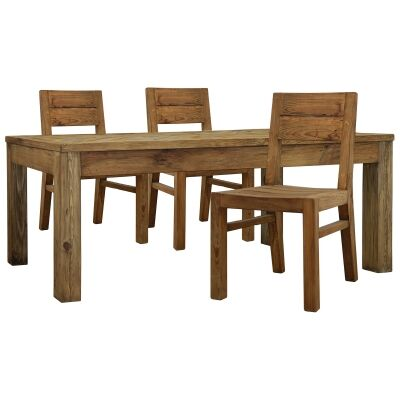 Mandalay Recycled Pine Timber 7 Piece Dining Table Set, 200cm