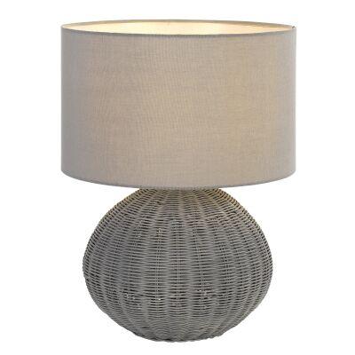 Mohan Rattan Base Table Lamp, Grey