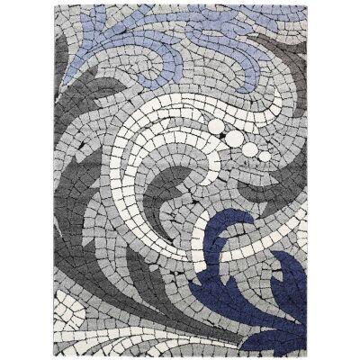 Momo Mosaic Motif Textured Modern Rug, 200x290cm, Blue