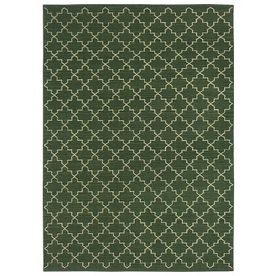 Moroc Handwoven Wool Rug, 160x230cm, Forest Green