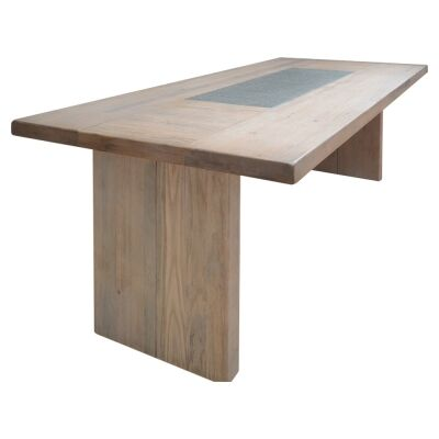 Enrifield Mountain Ash Timber Dining Table, Stone Inlaid Top, 240cm