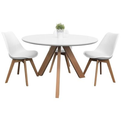 Morrison 5 Piece Round Dining Table Set, 120cm, with White Morrison Chair