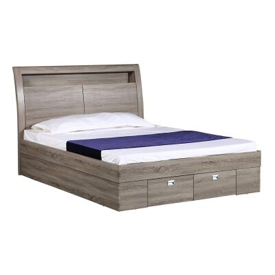 Orton Gas Lift Platform Bed with End Drawer, Double, Grey Oak